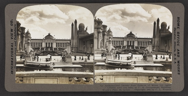 An architectural dream, past Palaces of Mines (on right) and Liberal Arts (on left) to U. S. Government Building, World's Fair, St. Louis,