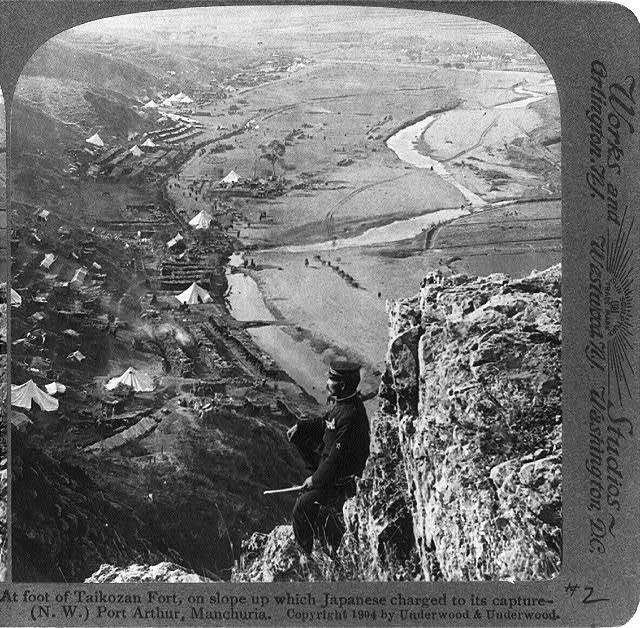 At foot of Taikozan Fort, on slope up which Japanese charged to its capture - (N.W.) Port Arthur, Manchuria