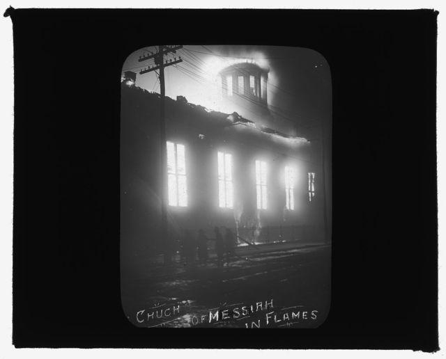 [Baltimore fire, 1904] Church of Messiah in flames