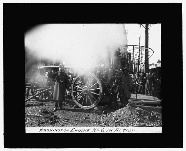 [Baltimore fire, 1904] Washington Engine No. 6 in action