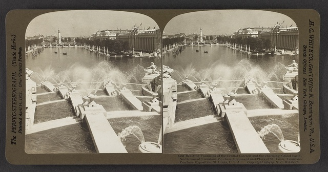 Beautiful fountains of the central cascade and the charming Grand Basin, north toward Louisiana Purchase Monument and Plaza of St. Louis, Louisiana Purcahse Exposition, St. Louis, U. S. A.
