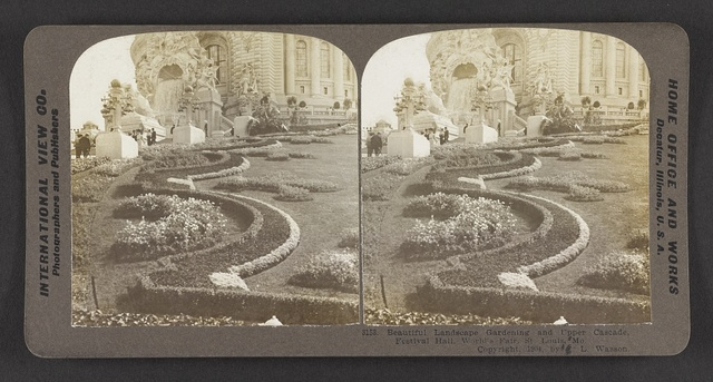 Beautiful landscape gardening and upper cascade, Festival Hall, Louisiana Purchase Exposition, St. Louis, Mo.