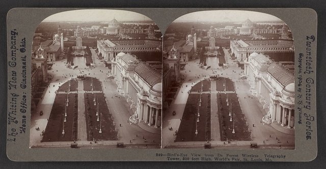 Bird's-eye view from De Forest Wireless Telegraphy Tower, 300 feet high, World's Fair, St. Louis, Mo.