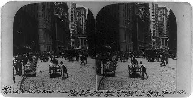 Broad Street, the broker section of the city, Sub-Treasury to the right, New York City