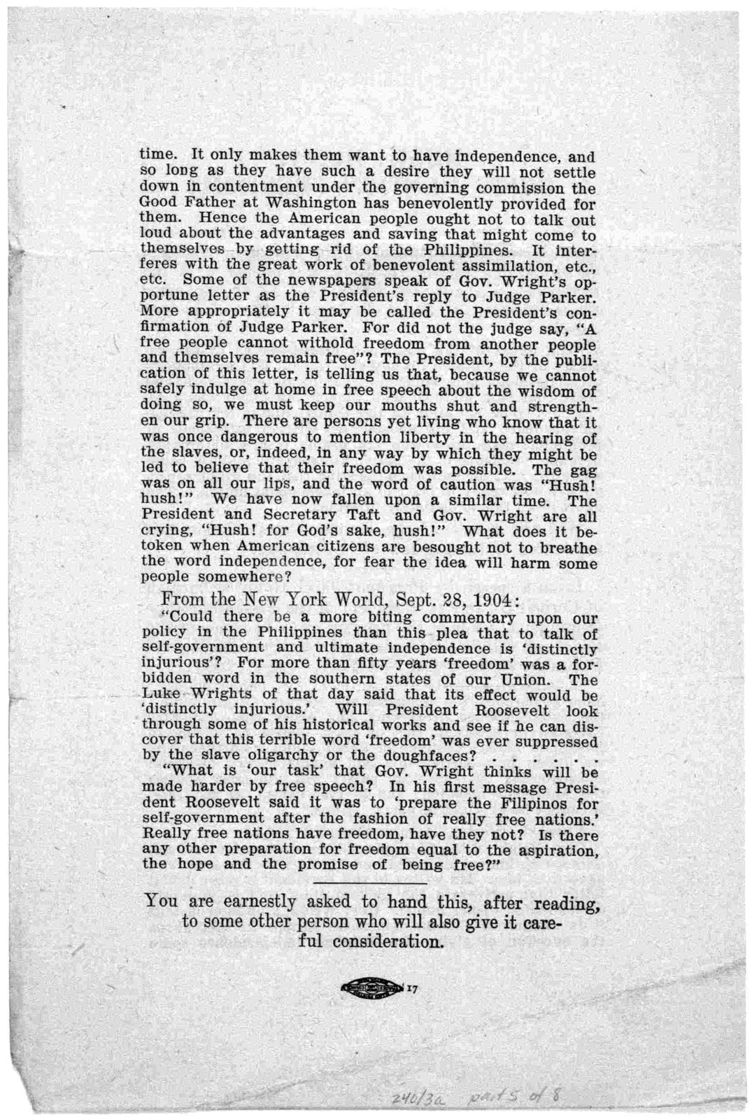 [Broadsides and leaflets relating to the Philippines, 1900-1904].