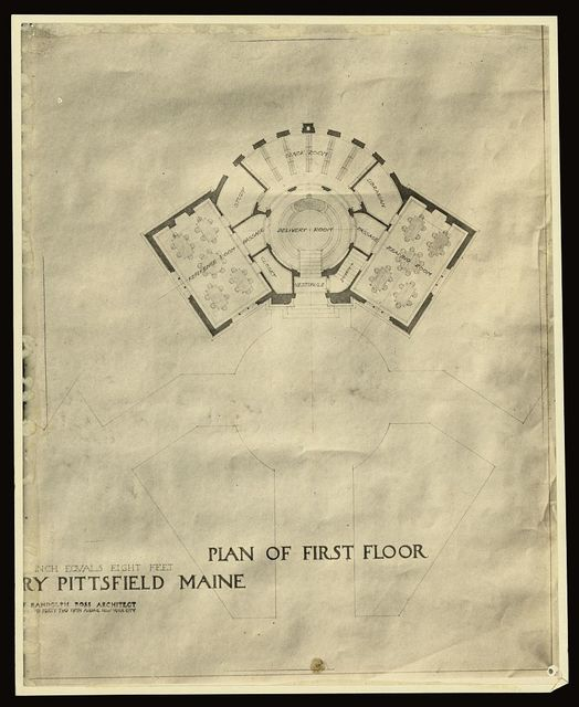 [Carnegie Library, Pittsfield, Maine. Plan of first floor]
