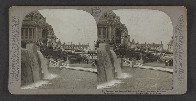 Cascades and Festival Hall from the east, Louisiana Purchase Exposition