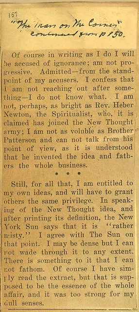 Charles Brodie Patterson, Leader of new thought movement to speak in Geneva; page 2