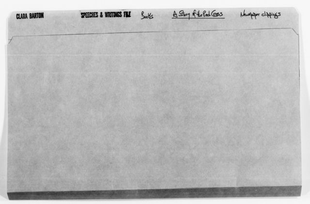 Clara Barton Papers: Speeches and Writings File, 1849-1947; Books; A Story of the Red Cross; Newspaper clippings, 1904