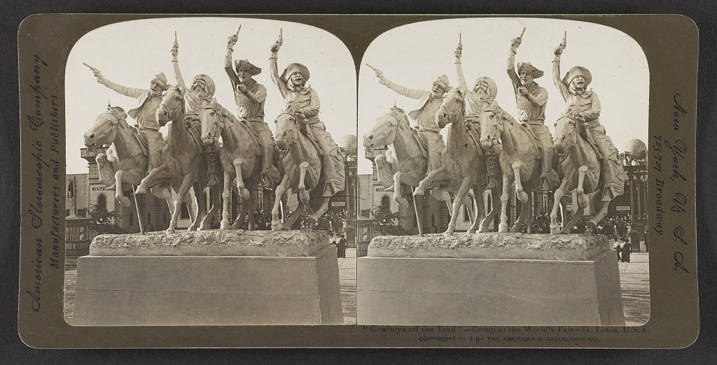 """Cowboys off the Trail"" - group at the World's Fair, St. Louis, U. S. A."