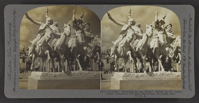 """Cowboys """"Shooting up the Town,"""" statue on St. Louis Plaza, Louisiana Purchase Exposition, St. Louis, Mo., U. S. A."""