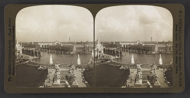 East from West Restaurant Pavilion over West Cascade and Grand Basin to Education and Manufactures buildings, Louisiana Purchase Exposition, St. Louis, U. S. A.