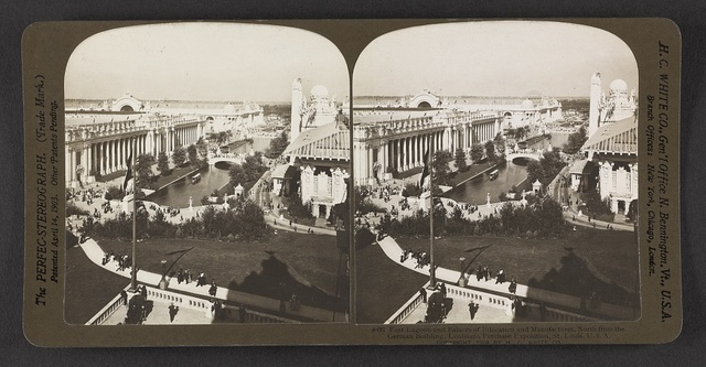 East lagoon and Palaces of Education and Manufactures, north from the German Building, Louisiana Puchase Exposition, St. Louis, U. S. A.