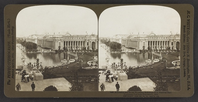 Education and Social Economy buildings from Festival Hall, Louisiana Purchase Exposition, 1904.