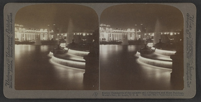 Electric illumination of the cascades and of Education and Mines Buildings, World's Fair,  St. Louis,  U.S.A.