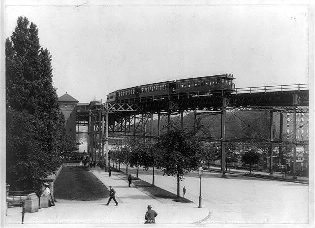 Elevated railroad at 110th St., N.Y. / A. Loeffler, Tompkinsville, N.Y.