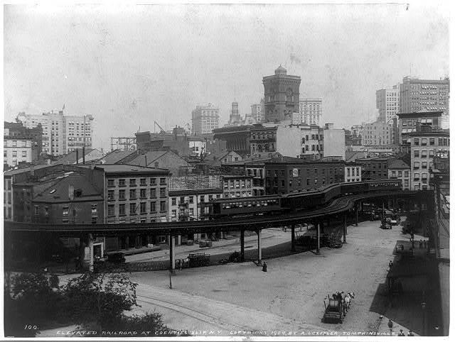 Elevated railroad at Coenties Slip, N.Y. / A. Loeffler, Tompkinsville, N.Y.