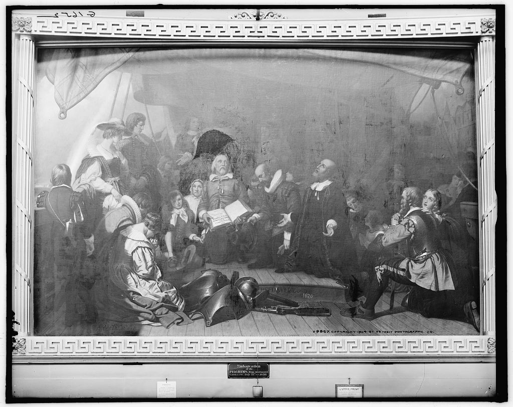 Embarcation of the pilgrims from Delft-Haven in Holland, July 21st O.S. 1620