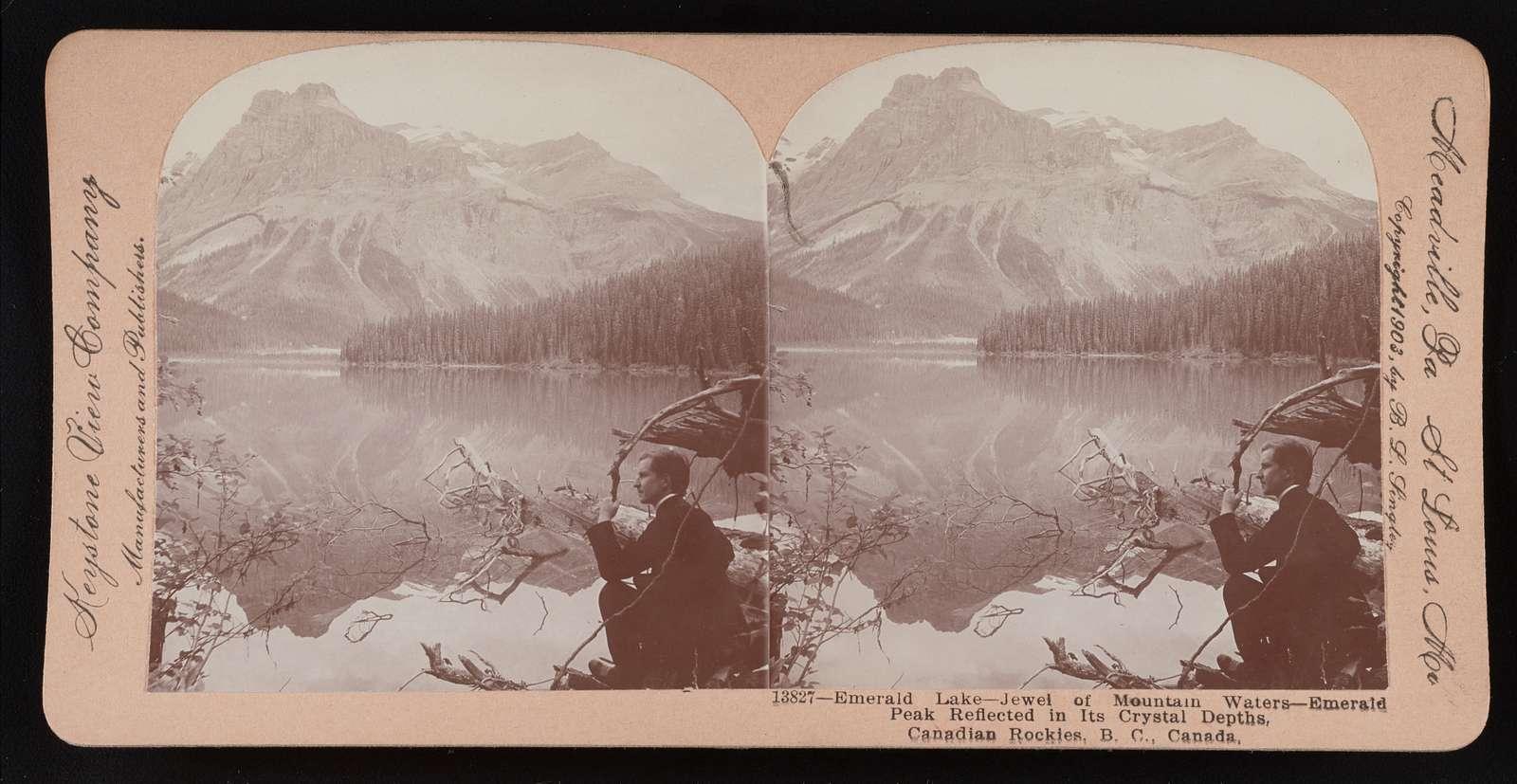 Emerald Lake-jewel of mountain waters-Emerald Peak reflected in its crystal depths, Canadian Rockies, B.C., Canada