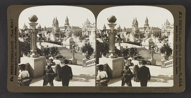Entrancing beauty of the exposition, lower cascade gardens, fountains and towers of Machinery Hall, Louisiana Purchase Exposition, St. Louis, U. S. A.