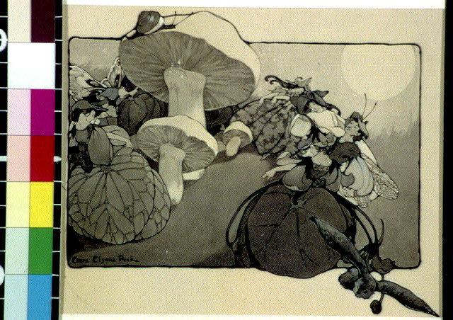 [Fairies in flower costume among mushrooms]