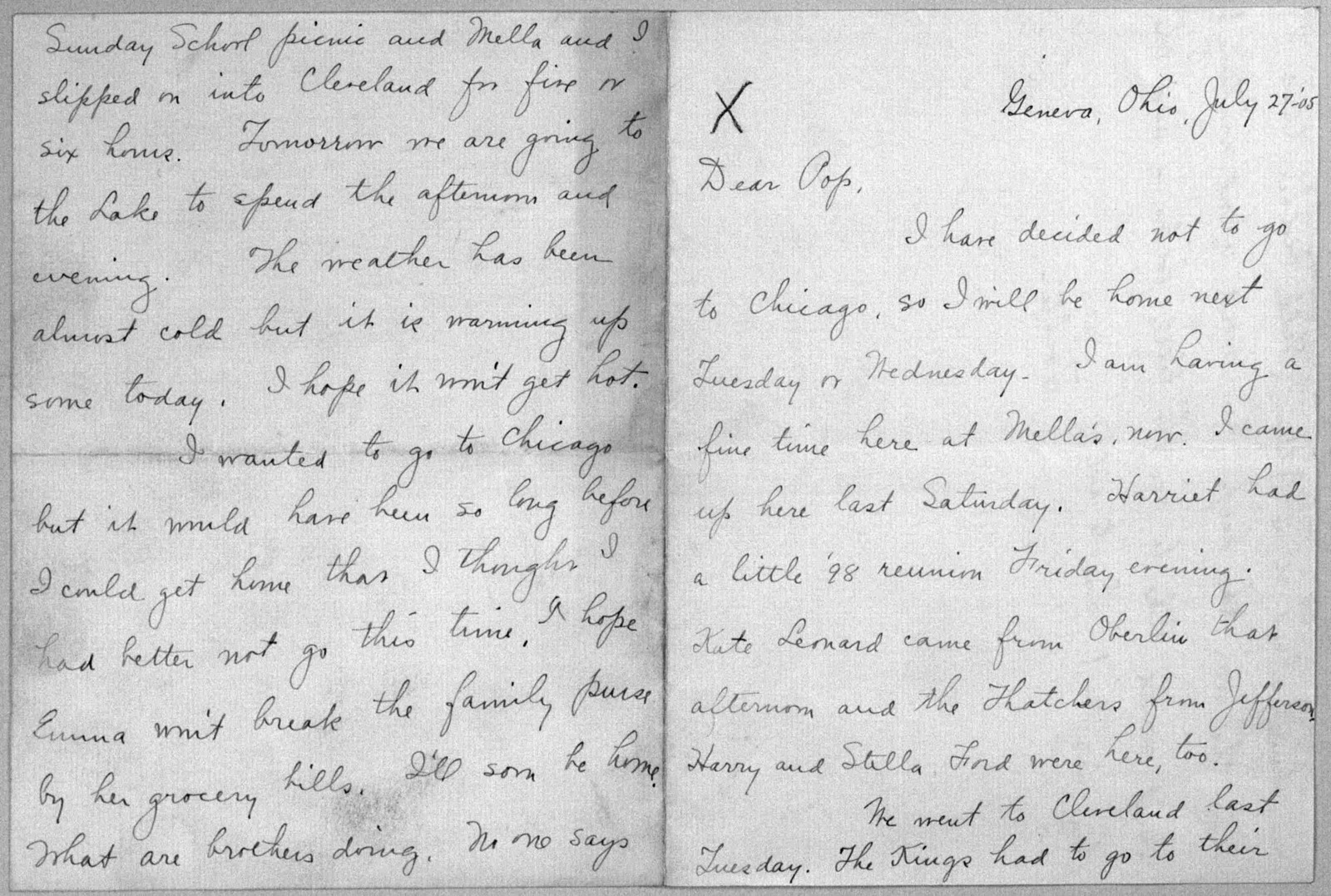 Family Papers:  Correspondence--Wright, Katharine, 1904-1906