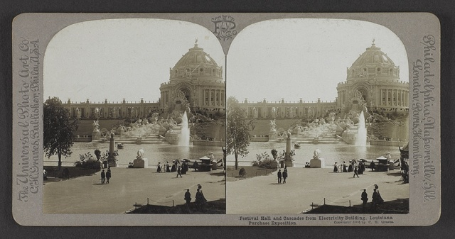 Festival Hall and cascades from Electricity Building, Louisiana Purchase Exposition
