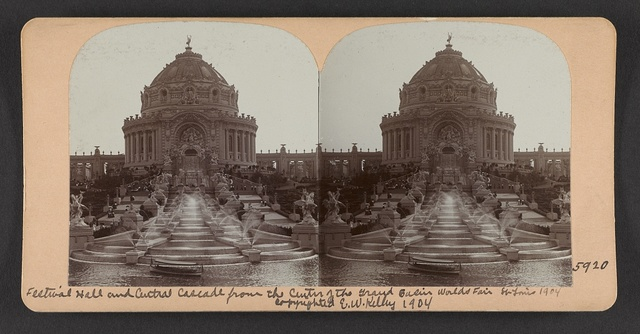 Festival Hall and Central Cascade from the center of the Grand Basin, World's Fair, St. Louis, 1904
