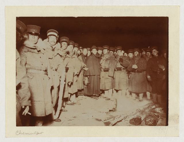 Flashlight - Jap soldiers at Chemulpo, after naval battle, standing around bonfire