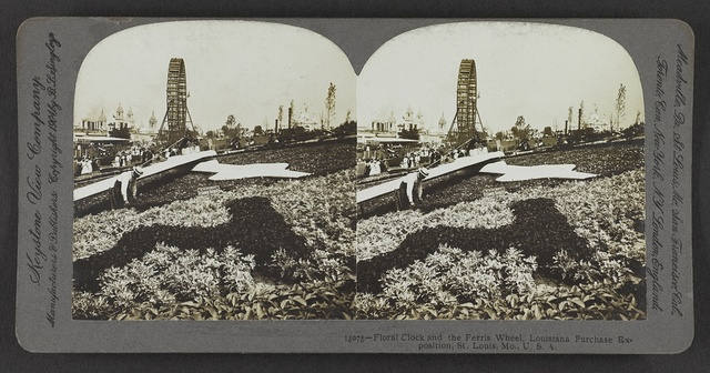 Floral clock and the ferris wheel, Louisiana Purchase Exposition, St. Louis, Mo., U. S. A.