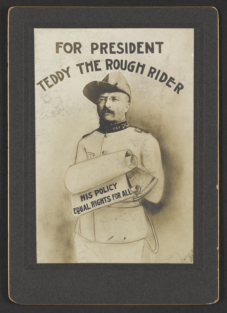 For President Teddy the rough rider, his policy equal rights for all