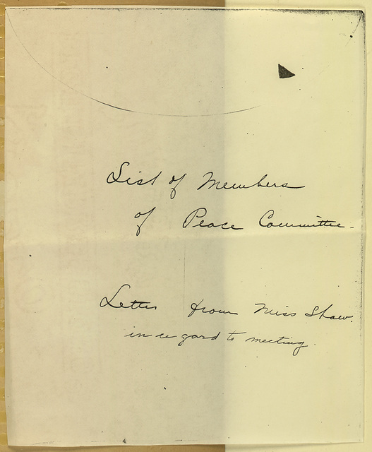 Foreign Delegates to Peace Congress; Anna Howard Shaw to Anne and Elizabeth Miller