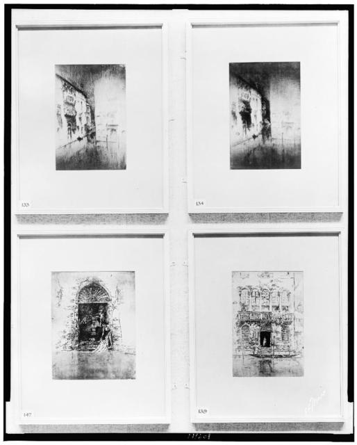 [Four prints of canal views by James McNeill Whistler on display at Boston Memorial exhibition, Copley Hall] / T.E. Marr.