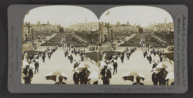 Fraternal Order of Eagles marching up Administration Way, Louisiana Purchase Exposition, St. Louis, Mo., U.S.A.