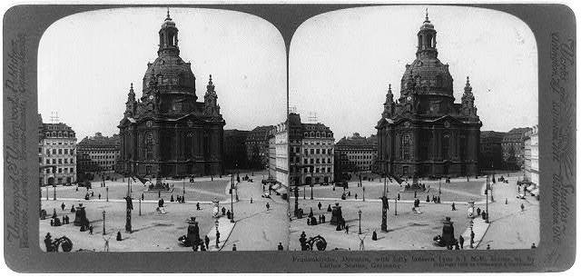 Frauenkirche, Dresden, with lofty lantern (310 ft.) N.E. across sq. by Luther Statue, Germany