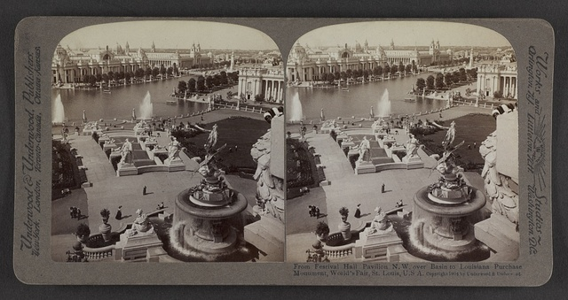 From Festival Hall Pavilion N.W. over basin to Louisiana Purchase Monument, World's Fair, St. Louis, U. S. A.