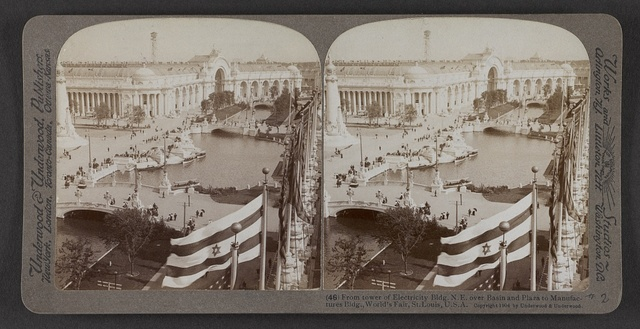 From tower of Electricity Bldg. N. E. over basin and plaza to Manufacture Bldg., World's Fair, St. Louis, U. S. A.
