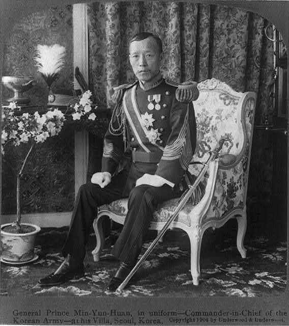 General Prince Min-Yun-Huan, in uniform - Commander-in-Chief of the Korean army - at his Villa, Seoul, Korea