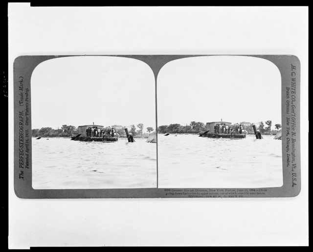 General Slocum Disaster, New York Harbor, June 15, 1904. Diver going down for bodies in upper saloon, out of which over 175 were taken