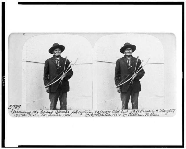 Geronimo, the great Apache chieftain, 70 years old but still erect and haughty, Worlds Fair, St. Louis, 1904