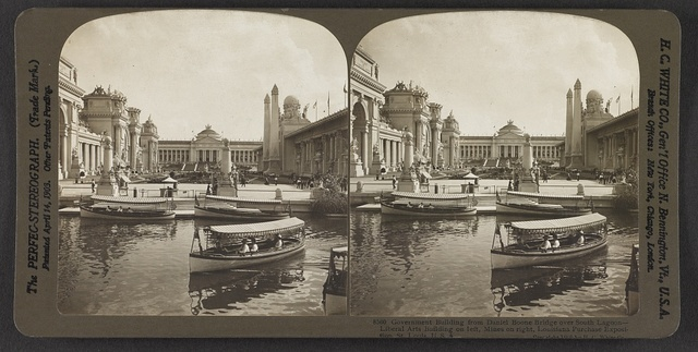 Government Building from Daniel Boone Bridge over south lagoon, Liberal Arts Building on left, Mines on right, Louisiana Purchase Exposition, St. Louis, U. S. A.