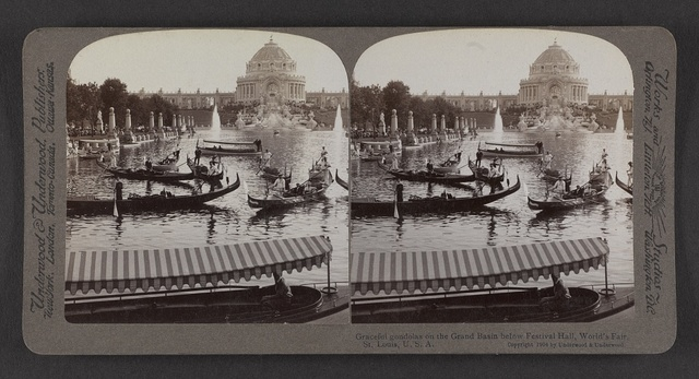 Graceful gondolas on the Grand Basin below Festival Hall, World's Fair, St. Louis, U. S. A.
