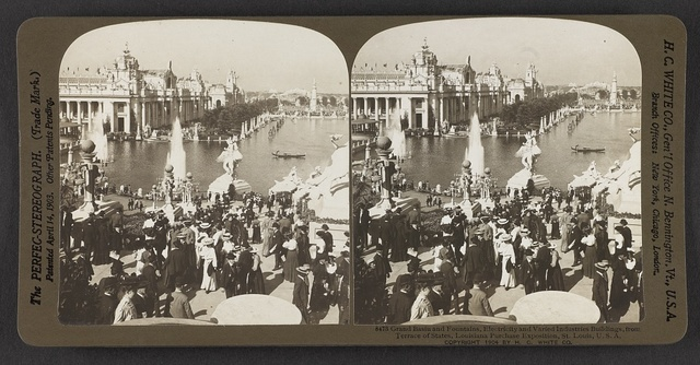 Grand Basin and fountains, Electricity and Varied Industries Buildings, from Terrace of States, Louisiana Purchase Exposition, St. Louis, U. S. A.