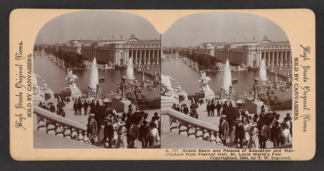 Grand Basin and Palaces of Education and Manufacture from Festival Hall, St. Louis World's Fair