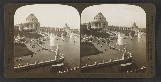 Grand Basin, Festival Hall and Terrace of States from Education Building, Louisiana Purchase Exposition, St. Louis, U. S. A.