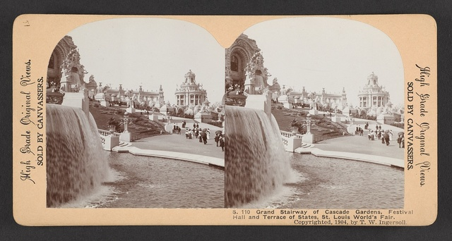 Grand stairway of Cascade Gardens, Festival Hall and Terrace of States, St. Louis World's Fair