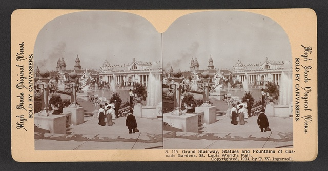 Grand stairway, statues and fountains of cascade gardens, St. Louis World's Fair