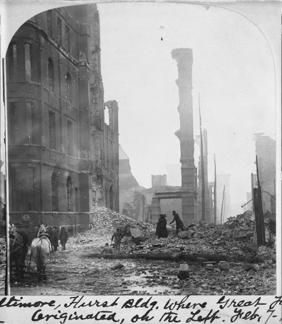 Grim ruins in the heart of business Baltimore. Hurst Bldg. where the great fire originated on the left, 7 Feb. 1904
