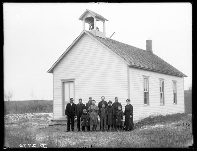 Group photo of students with their teacher at the Milburn School, Milburn, Nebraska.