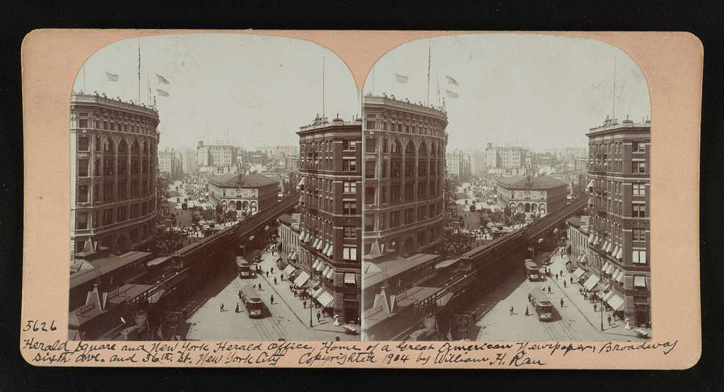 Herald Square and New York Herald office, home of a great American newspaper, Broadway Sixth Ave. and 36th St. New York City